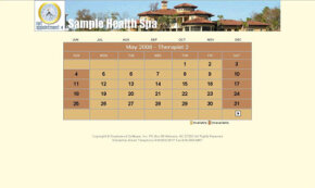 A sample schedule calendar view based on a Web service provided by Net Appointment. 