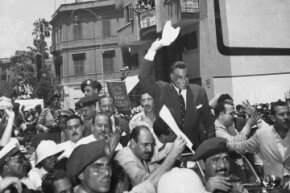 A huge crowd greeted Egyptian leader Gamal Abdel Nasser in August 1956 upon his arrival in Cairo from Alexandria, where he'd announced he had taken over the Suez Canal Company.