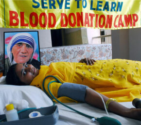 A member of the Basic Christian Community in Hyderabad, India, donates blood. Volunteer blood donors in India make up only 50 percent of the necessary eight million units needed to fill the annual requirement for blood.