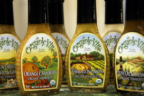 Scott Olson/Getty Images                              OrganicVille, a line of low-carb salad dressings, prominently displays the USDA certified organic seal on their labels.