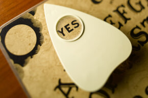 Closeup of an Ouija board.