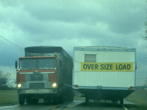 An oversize load can make for tight spaces on the highway.