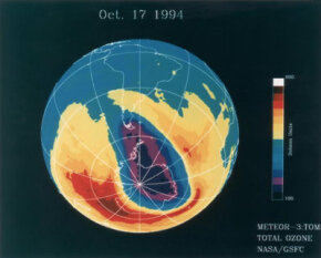 We can get measurements of the ozone layer from instruments on satellites in space. One of the TOMS instruments gave scientists data to create this image depicting ozone levels.