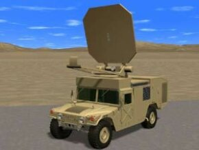 Artist concept of the pain beam mounted to a Humvee