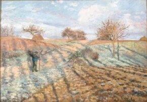 Camille Pissarro's Hoarfrost (oil on canvas, 25-5/8x 36-5/8 inches)