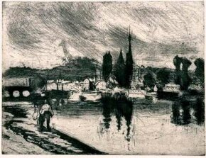 View of Rouen (Cours-la reine) by Camille Pissarro (etching the print collection Division of Art, Prints, and York Public Library.