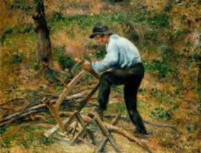 The Woodcutter by Camille Pissarro (oil on canvas, 35x45-3/4 Court Collection in