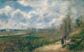 Pathway at Chou in March by Camille Pissarro (oil on canvas, des Beaux-Arts