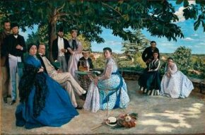 The Artist's Family on a Terrace near Montpellier by Frédéric Bazille is an oil on canvas (59-7/8 x 89-3/8 inches). It can be seen at Musée d'Orsay, Paris.