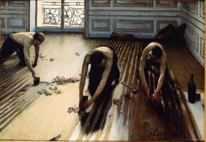 The Floor Scrapers by Gustave Caillebotte is an oil on canvas (39-3/8 x 57-1/4 inches). It can be seen at Musée d'Orsay, Paris.