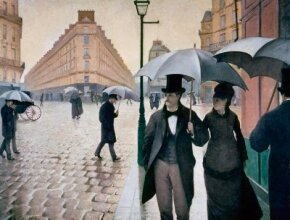 Gustave Caillebotte's Paris Street; Rainy Day is an oil on canvas (83-1/2 x 108-3/4 inches), which is owned by The Art Institute of Chicago.