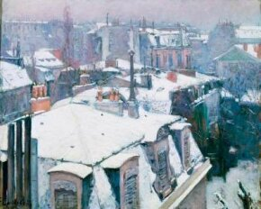 Gustave Caillebotte's Rooftops in the Snow, Paris is an oil on canvas (25-5/8 x 31-7/8 inches), which can be seen at Musée d'Orsay, Paris.
