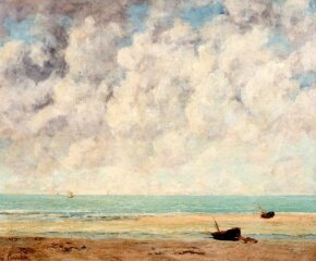 Gustave Courbet's The Calm Sea is an oil on canvas (23-1/2 x 28-3/8 inches) that is on display at The Metropolitan Museum of Art, New York.