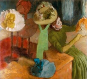 Hilaire-Germain-Edgar Degas's The Millinery Shop is an oil on canvas (39-3/8x43-9/16 inches), which is housed in The Art Institute of Chicago.