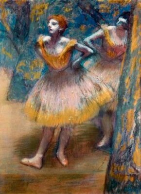 Hilaire-Germain-Edgar Degas's Two Dancers is a pastel on cream woven paper, pieced and laid down on board (27-3/4x21-1/8 inches), which is in the possession of The Art Institute of Chicago.