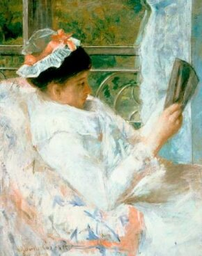 Mary Cassatt's Woman Reading (oil on canvas, 32-1/4x Art Museum