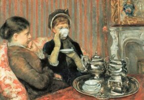 Five O'Clock Tea by Mary Cassatt (oil on canvas, 25-1/2x of Fine Arts.