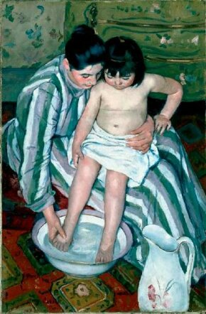 Mary Cassatt's The Child's Bath (oil on canvas, 39-1/2x at The
