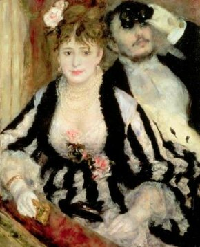 La Loge by Pierre-Auguste Renoir (oil on canvas,                              31-1/2x25 inches) is housed at the Courtland                                            Institute Gallery in London.