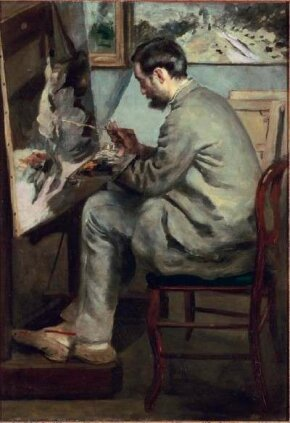 Portrait of Frédéric Bazille Painting The Heron with                              Wings Unfurled by Pierre-Auguste Renoir                                            (41-3/8x29 inches) is found in the                                            Musée d'Orsay in Paris.