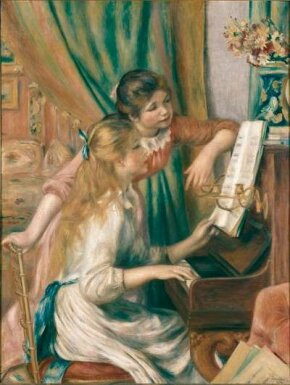 Young Girls at the Piano by Pierre-Auguste Renoir                              (oil on canvas, 45-5/8x35-3/8 inches)                                            resides in the Musée d'Orsay in Paris.