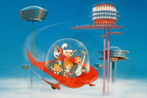 "The Jetson family waves as they fly past buildings in their spaceship in a still from the animated television series, ""The Jetsons,"" circa 1962."