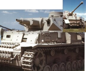 More than 8,000 Panzerkampfwagen IV tanks were produced before World War II ended. Inset: the Panzerkampfwagen IV Ausf E with nose armor plating removed.