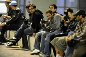 Paparazzi wait around for Lindsay Lohan to be released from the Lynwood Correctional Facility.