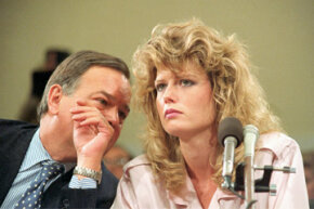 Fawn Hall and her attorney on June 9, 1987, at the Iran-Contra hearings – after she became a paper-shredding legend.