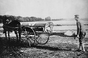 Ambulances might be loud, but at least they're not pulled by horses anymore like this early U.S. Army ambulance.