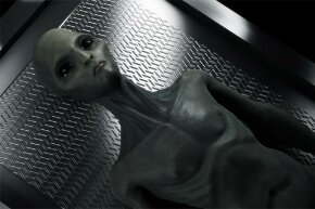 This conceptualized image shows an alien life form on an operating table prior to an autopsy