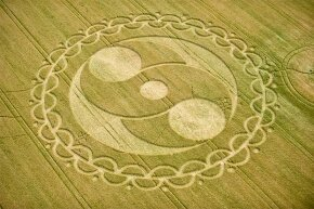 This intricate crop circle was made in Wiltshire, England. Far from being the work of aliens, two artists and drinking buddies admitted to making many of them.
