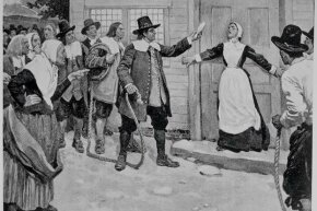This illustration shows a woman being accused of witchcraft in Salem, Massachusetts, in the late 1600s.