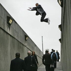 """Forrest from Urban Freeflow performs a precision jump for a """"Discovery Channel"""" shoot."""