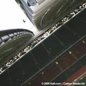 Sébastien Foucan clears a gap on a stadium roof for Jump Britain.