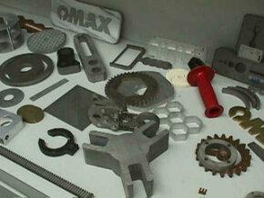 Abrasivejet-cut parts.
