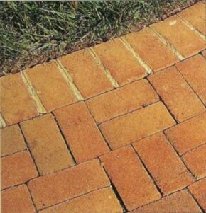 This brick walkway has sturdy mortared joints to offset the informally laid walk.
