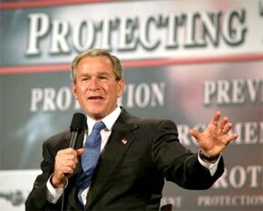 President Bush speaks about the Patriot Act in 2004.
