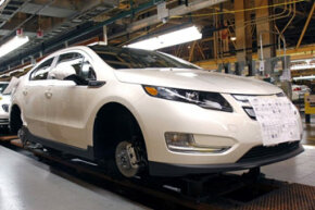 Image Gallery: Hybrid Cars A brand-new 2011 Chevrolet Volt rolls off the assembly line at the General Motors Detroit-Hamtramck plant on Nov. 30, 2010. See more pictures of hybrid cars.