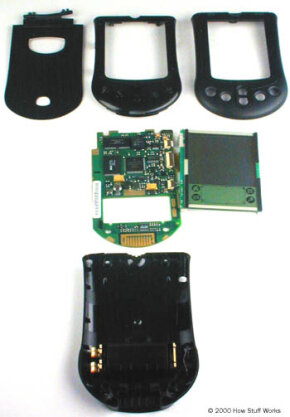 Here are the parts of the PDA -- the case, the LCD screen and the circuit board. This model comes in basic black, but you can buy interchangeable covers in various colors.