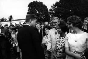 President Kennedy greets the very first Peace Corps volunteers in August, 1962.