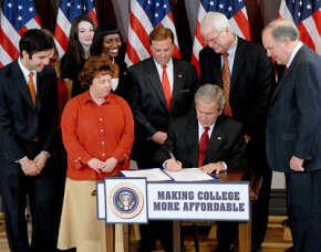 President George Bush signs the College Cost Reduction Act making college more affordable for low-income students by increasing funding for Federal Pell Grants by more than $11 billion.