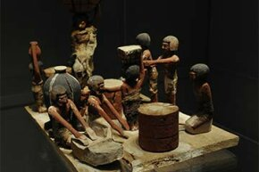 These bakery and brewery artifacts were found in the tomb of Wadjet-hotep (circa 2150-2050 B.C.E.) Breadmaking and beermaking were closely tied in ancient Egypt since they used a lot of the same ingredients.