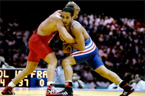 The 1996 Olympics saw several Russian athletes disqualified after testing positive for bromantan. One of the athletes was Zafar Guleyev, who forfeited his bronze medal in Greco-Roman wrestling (pictured here).