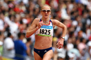 Yep, famed British marathon runner Paula Radcliffe (pictured here during the 2008 Olympics) has exercise-induced asthma. Many such athletes rely on inhaled albuterol to deal with their asthma.