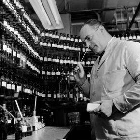 A perfumer circa 1950 with Lever Laboratories in New Jersey in the process of formulating a perfume to be added to soap.