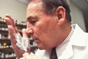 Perfumers don't just smell perfumes all day long. Their talents are in great demand for all manner of cosmetic and household products, like, say, shaving cream, which is what Carl A. Klumpp, Gillette's former chief perfumer, is sniffing.
