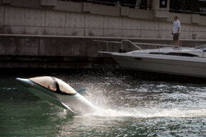 The dolphin-like Seabreacher draws attention on the Chicago River.