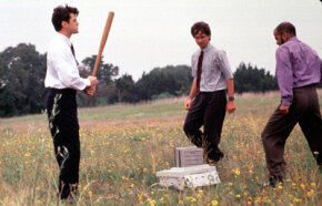 "In this scene from ""Office Space,"" employees destroy company property. Could this be an act of self-sabotage to avoid a promotion?"