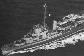 The USS Eldridge (seen in 1944) was allegedly the site of some U.S. Navy experiments in time travel.